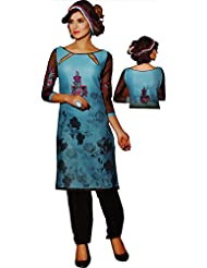 Anshika Women's Embroidered Cotton Dress Material (Blue_Free Size) - B00OQGEEHO