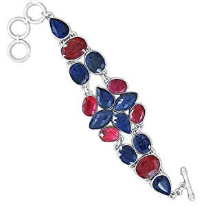 925 Sterling Silver Ruby Blue Sapphire Corundum Natural Gemstone Vintage Style Costume Matching Handmade Link Bracelet 8