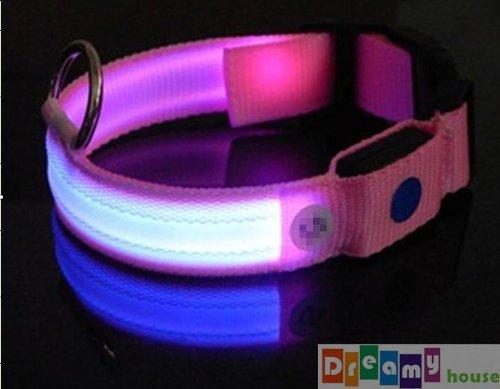 Dreamy House Pink Nylon Led Dog Collar, Flash Pet Accessory Dog Safety Collar, S/M/Xl (Xl)