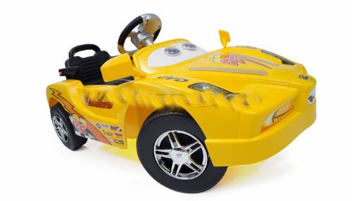 Cars Enzo Style Radio Remote Control Ride on Car Wireless Full Function Hand Held Remote or Flip Switch & It Is a Kids Normal Foot Pedal Power Wheels Vehicle - YELLOW
