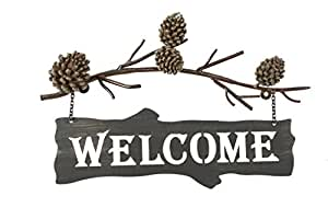 DEI Country Pinecone Welcome Sign, 17-Inch