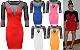 Womens Ladies Celeb Beyonce Inspired Mesh Insert 3/4 Sleeve Bodycon Mini Dress (UK 8, RED)