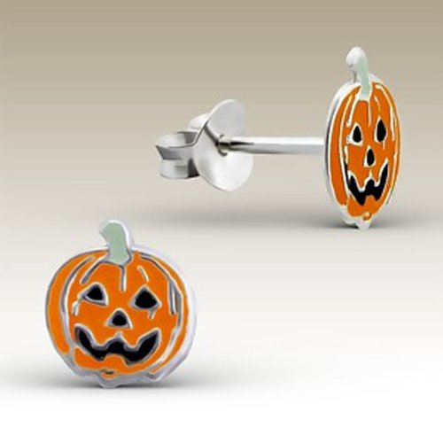 childrens Stering Silver Halloween Pumpkin Earrings