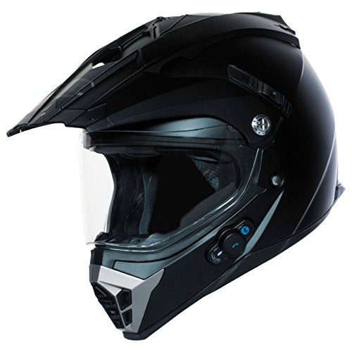 BILT Techno Bluetooth Adventure Motorcycle Helmet - XL, Matte Black