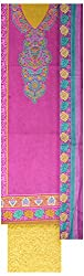 Kothari Suits Girls' Cotton Unstiched Dress Materials (KOTHARI_1019-C, Purple and Yellow)