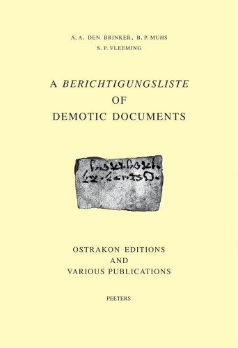 a-berichtigungsliste-of-demotic-documents-ostrakon-editions-and-various-publications