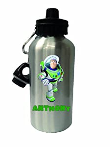 Buzz Lightyear Childrens Water Bottle Silver, Can have any name printed on.