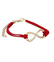 Aaishwarya Funky Red Metal Infinity Leather Wrap Bracelet For Men & Women