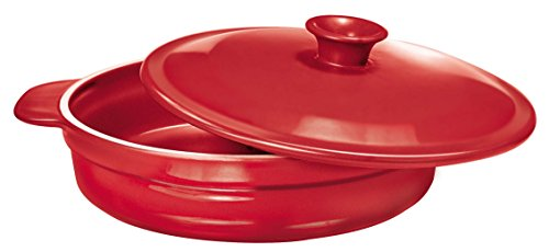 Paderno World Cuisine Red Ceramic Sauteuse, 1.30-Quart