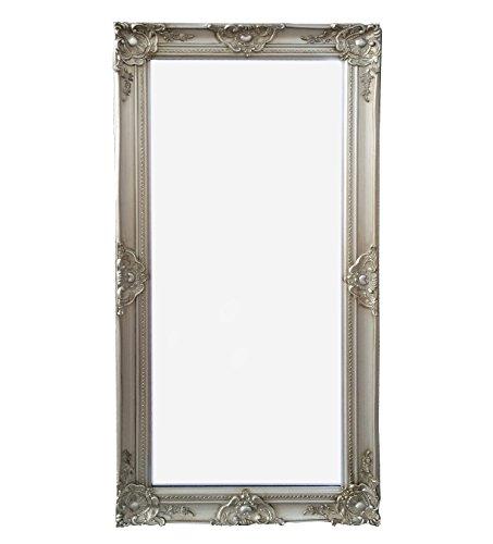 Wandspiegel-Spiegel-silber-100-x-50-cm-Antik-Stil-barock-m-Facettenschliff