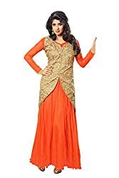 Blissta Orange partywear Long Net Gown Dress material