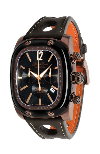 Glam Rock Unisex Quartz Watch With Black Dial Analogue Display And Leather Strap 0.96.2469