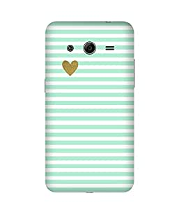 Green Stripes Golden Heart Samsung Galaxy Core 2 Printed Back Cover