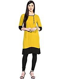 Varibha Cotton Silk Yellow & Black Solid Kurti (Best Gift For Mummy Mom Wife Girl Friend, Exclusive Offers And...