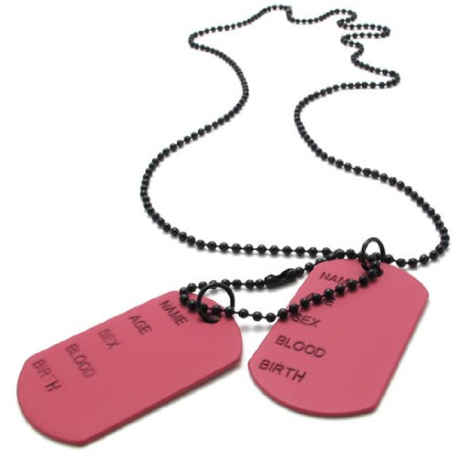KONOV Jewelry 2pcs Dog Tag Pendant Necklace Chain, Pink