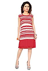 Trendif Red And White Poly Georgette Strip Print Pary Wear Dress