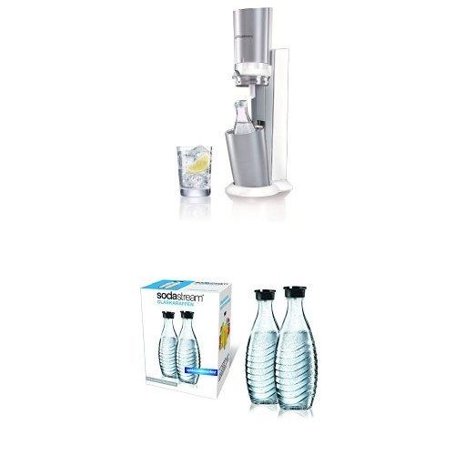 SodaStream Wassersprudler Crystal (mit 1 x CO2-Zylinder 60L und 1 x 0,6L Glaskaraffe), Premium-weiß + SodaStream DuoPack Glaskaraffe (2 x 0,6L Glaskaraffen)
