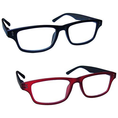 uv-reader-negro-mate-goma-rojo-negro-gafas-de-lectura-valor-pack-2-hombres-mujeres-rr33-1z-dioptria-