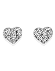 M&S Collection Silver Plated Sparkle Diamanté Heart Earrings