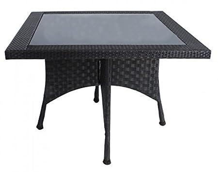 Hochwertiger Gartentisch Glastisch, Poly-Rattan dunkelbraun