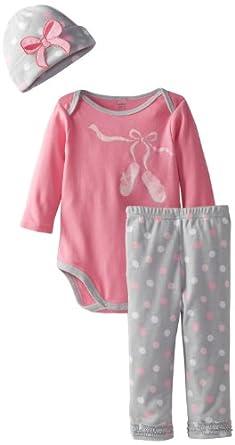 d2723629c Gerber Baby-Girls Newborn 3 Piece Onesies Brand Bodysuit Pants and Cap Set