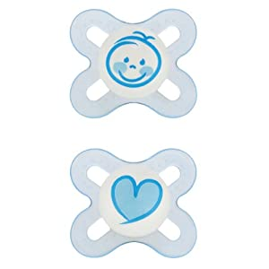 MAM Start Orthodontic Silicone Pacifier, Colors may vary, 2 Pack