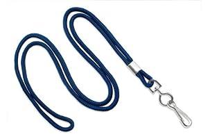 "Navy Blue 1/8"" Round 36"" Braid Non-Breakaway Lanyard, Swivel Hook (100/bag)"
