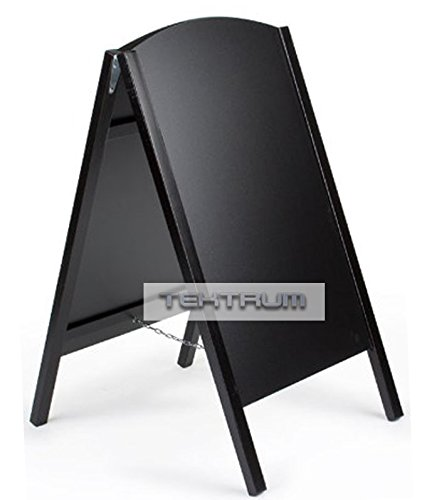 "Tektrum Double-side Sidewalk A-frame Wood Black Sandwich Sign Board 24.25"" X 42"" for Shops Pubs"