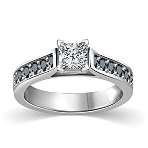 1/2 ct tw White & Black Princess Cut Diamond Cathedral Accent Diamond Engagement Ring 14K White Gold on Sterling