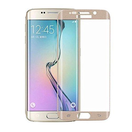 Pellicola protettiva display VETRO TEMPERATO con copertura angoli oro per Samsung Galaxy S6 Edge G925