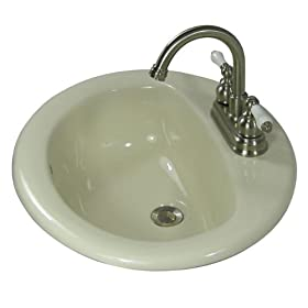 Self Rimming Bone 3 Hole Drop-In Round Porcelain Bathroom Sink
