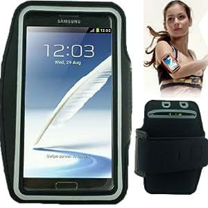 Brassard tour de bras noir pour Samsung Galaxy Note 2 / II N7100 et Galaxy Note 3 N9000 idéal pour les sportifs, course à pied ou salle de sport, pochette pour clé et trous pour écouteurs
