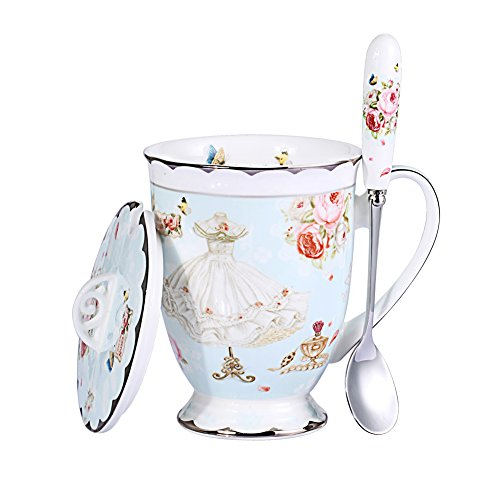 AWHOME Royal Fine Bone China Coffee Mugs Spoon and Lid Tea Cup Gift for Women Mom (Blue) (Elegant Coffee Cups compare prices)
