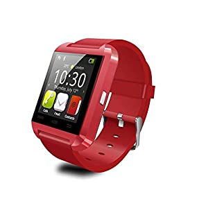 Androset Bluetooth smart watch touch screen with mic for iPhone and Android, Samsung S4 S5 Note 2 Note 3 and HTC (Red)