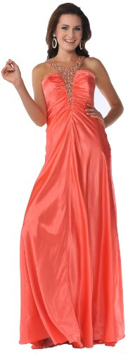 Meier Women's Satin Halter Embellished Gown 7502