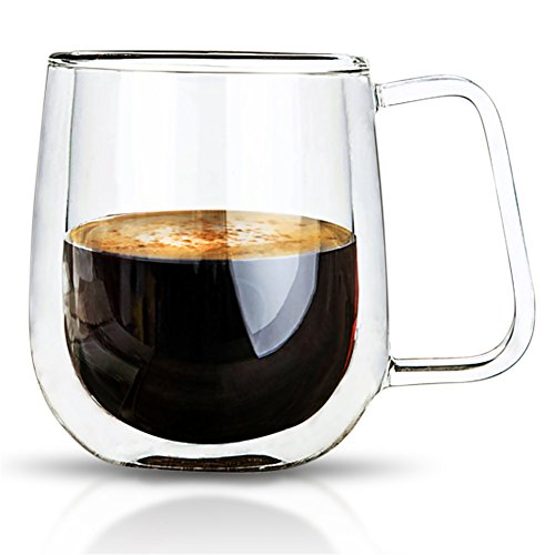 VARANO Double Wall Insulated Espresso Mug With Handle-Crystal Clear Cup For Tea, Coffee, Milk or Cold Drinks- Heat Resistant Layered Top Quality Lead Free Borosilicate Glass- Great Gift Thermal Mug (Espresso Cups Vintage compare prices)