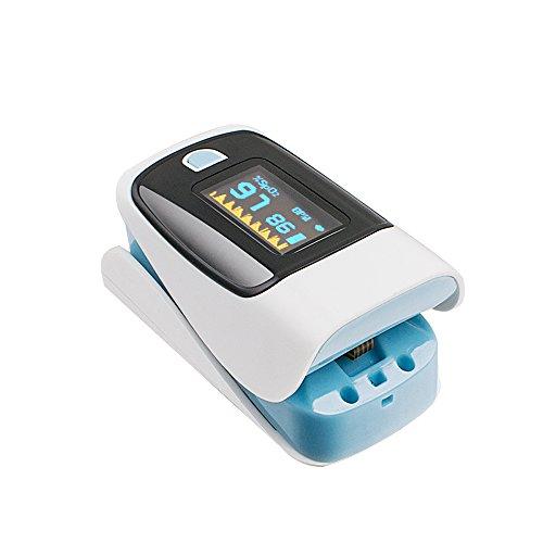 Denshine Pulsoximeter Finger Tip Fingertip Sauerstoffmessgerät SpO2 PR Pulsmesser Perfusion Index (PI) (blau)