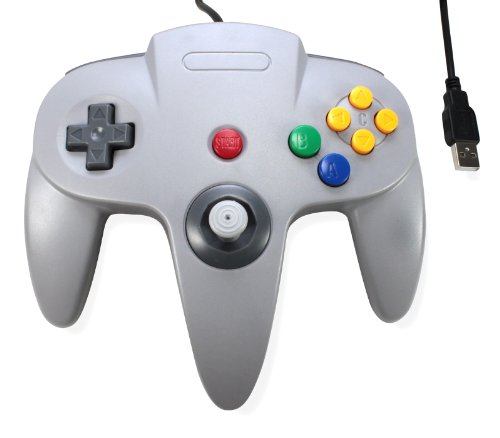 3rd Party Classic Retro N64 Bit USB Wired Controller for PC and MAC - Grey