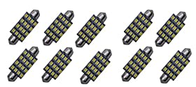 "Cutequeen 10pcs White 42mm(1.72"") 16-SMD 12V Festoon Dome Light LED Bulbs 211-2 212-2 569 578 - White (Pack of 10)"