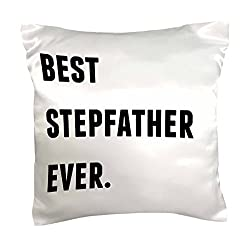 3dRose pc_213359_1 Best Stepfather Ever Black Letters on a White Background Pillow Case, 16 x 16