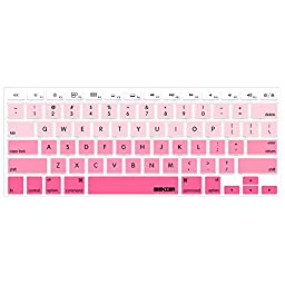 iBenzer - Macaron Serie Keyboard Cover Silicone Rubber Skin for Macbook Pro 13\'\' 15\'\' 17\'\' (with or without Retina Display) Macbook Air 13\'\' and iMac - Gradual Pink MKC02GPK