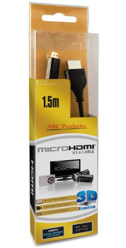 Abc Products® Replacement Sony Micro D Hd Hdmi Cable Cord Lead Dlc-Heu15 For Select Cyber-Shot Digital Camera / Handycam Camcorder / Walkman / Sony Ericsson Smartphone Cell / Mobile Phone / Digital Binoculars Etc (Models Stated Below)