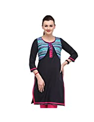 Sia Fashion Black Kurta With Printed Shrug For Women - B00R2IJBOE