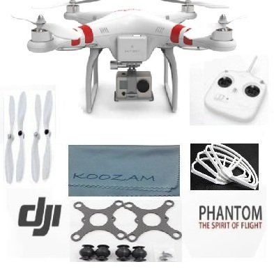 DJI Phantom Aerial UAV Drone Quadcopter Version 1.1.1 for GoPro Camera Hero 1 2 3 Hero3+ Silver Black and other actioncams + DJI Extra Prop Guards + DJI Extra Set Self Tightening Propellers + Carbon Fiber Anti Vibration Anti-Jello Mount + Koozam Cleaning