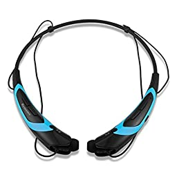 Rymemo Wireless Bluetooth 4.1 Music Stereo Sports/Running Neckband Style Headset for Cellphone (Blue-Black)