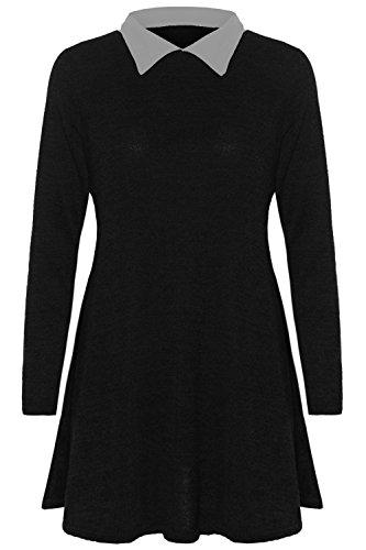 da donna a maglia Fine lavorato a maglia larghi grande Melange Swing collo a contrasto a punta vestito Top misura 8-14