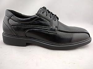 Vanlly Shoes Men's Black Leather Oxford Service Shoe Nonslip Oil Resistant Outsole (9.5)