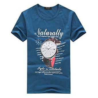 Hee Grand Mens Round Neck Casual Tees Chinese XXL Watch Blue