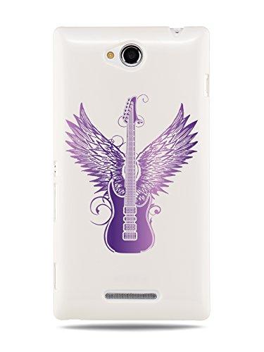 "Grüv Premium Case - ""Rock Guitar Angel Wings Digital Art"" Design - Best Quality Designer Print On White Hard Cover - For Sony Xperia C S39H C2305 front-172290"