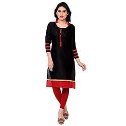 Success fashion Women's Cotton Unstiched Kurti Material (success k-38_Black_Free size)